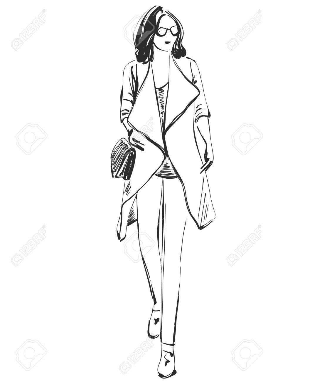 Modele De Belle Jeune Fille Pour La Conception Mode Style Beaute Graphique Dessin De Croquis Clip Art Libres De Droits Vecteurs Et Illustration Image 87612058