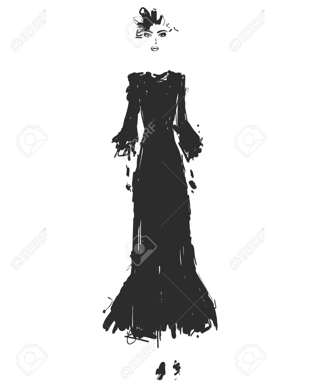 Beautiful Young Girl For Design In A Black Long Dress Fashion