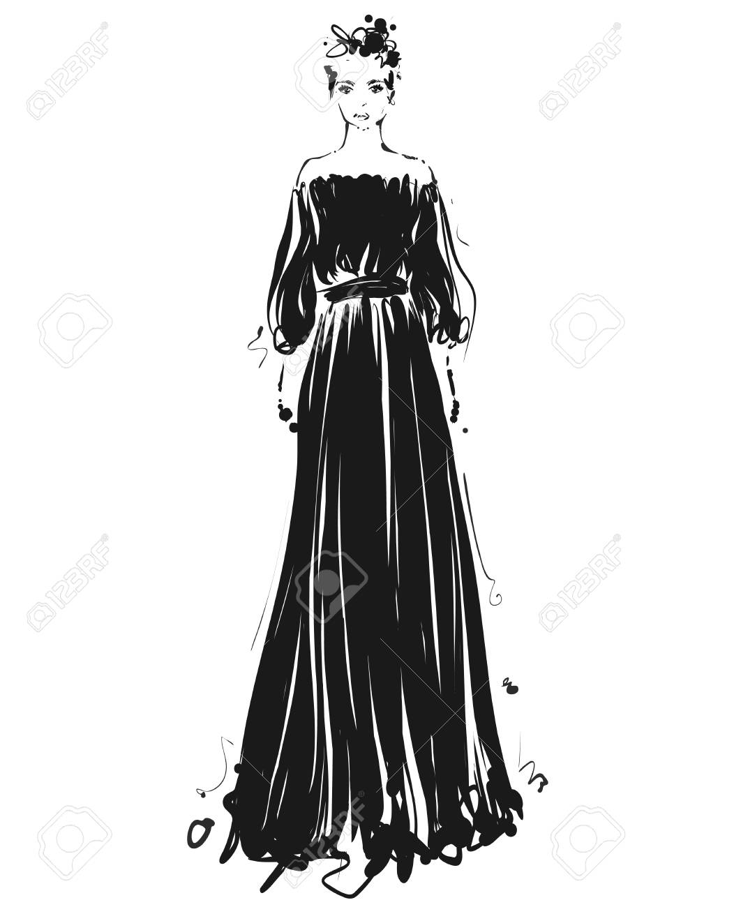 Beautiful Young Girl For Design Fashion Model Sketch Drawing Royalty Free Cliparts Vectors And Stock Illustration Image 95927493