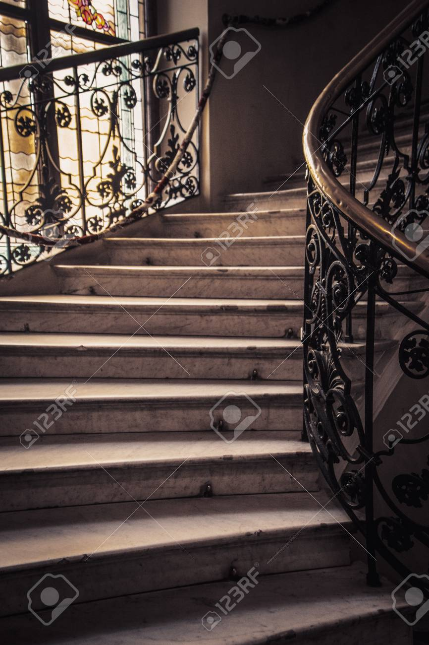 Spiral Stone Staircase With White Granite Steps And Railings Stock Photo Picture And Royalty Free Image Image 126059182