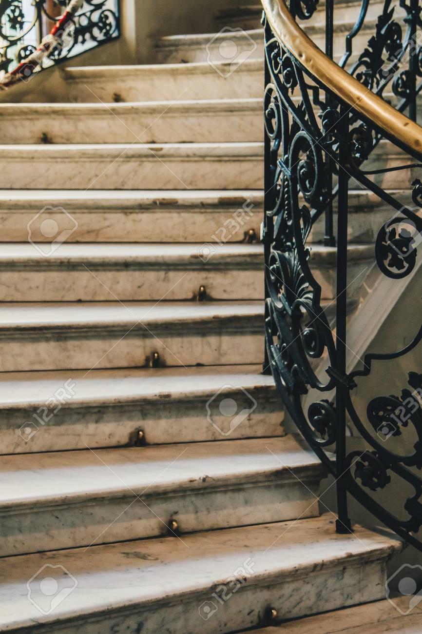Spiral Stone Staircase With White Granite Steps And Railings Stock Photo Picture And Royalty Free Image Image 126059221
