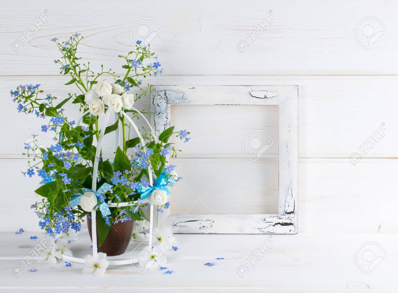 Forget-me-not Flowers With Birdcage And Photo Frame With Craquelure ...
