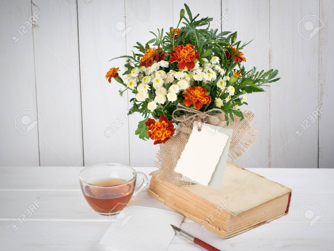 Tagetes Flower Bouquet With Decorative Greeting Card And Old.. Stock ...
