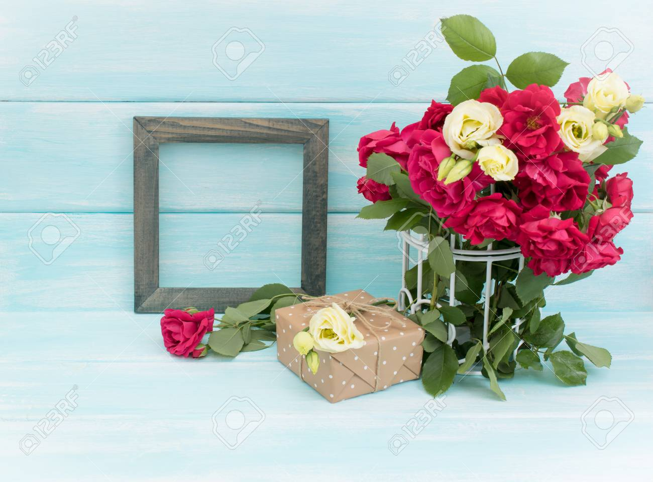 Roses In Birdcage, Vintage Photo Frame And Gifts In Shabby Chic ...