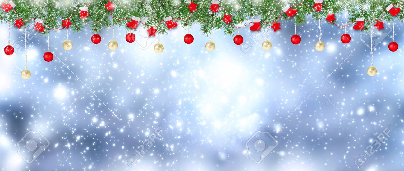 Christmas Banner.Christmas Banner Santa Boots Gloves Stars And Balls Hanging
