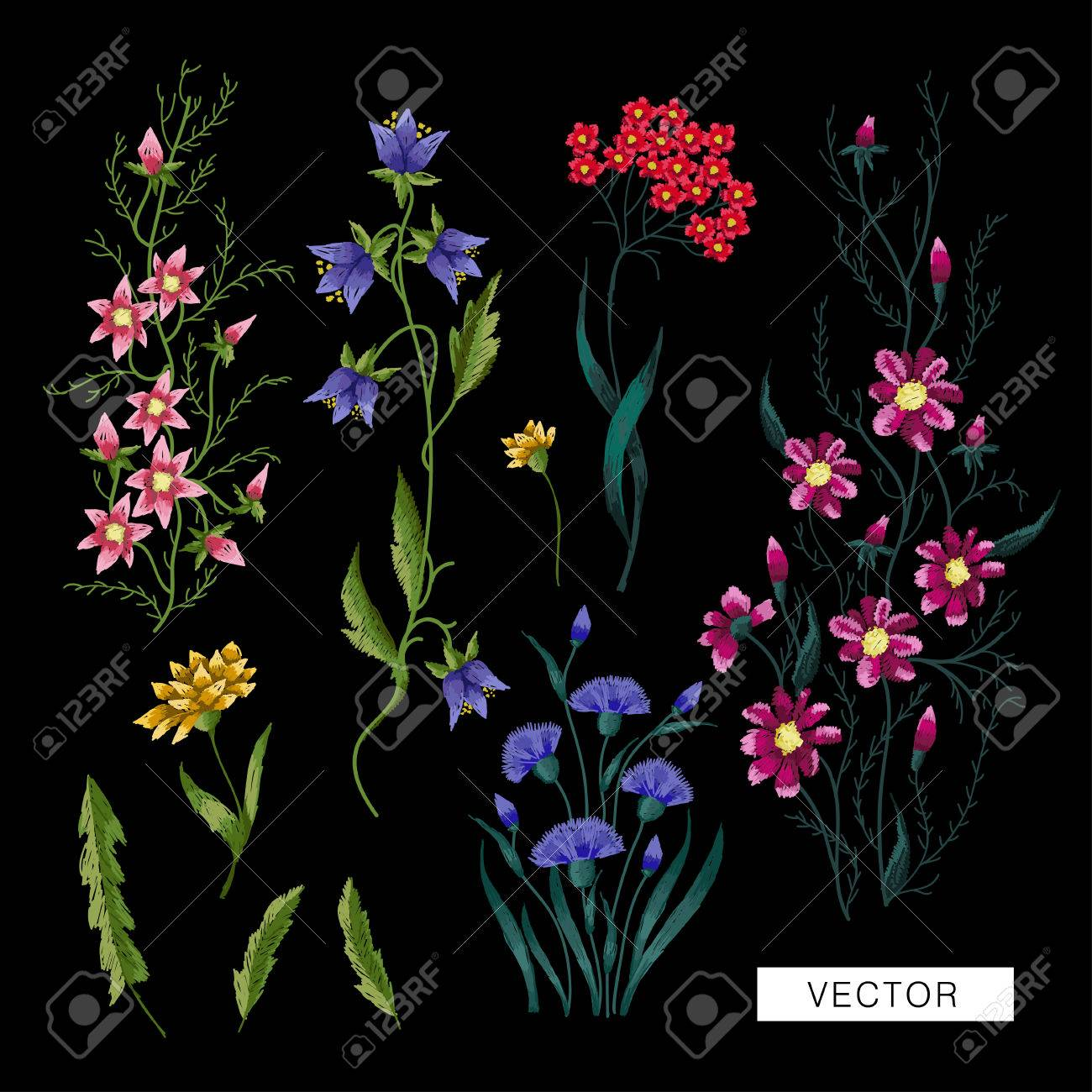 Embroidery Flowers Embroidered Design Elements With Flowers Royalty Free Cliparts Vectors And Stock Illustration Image 75567572