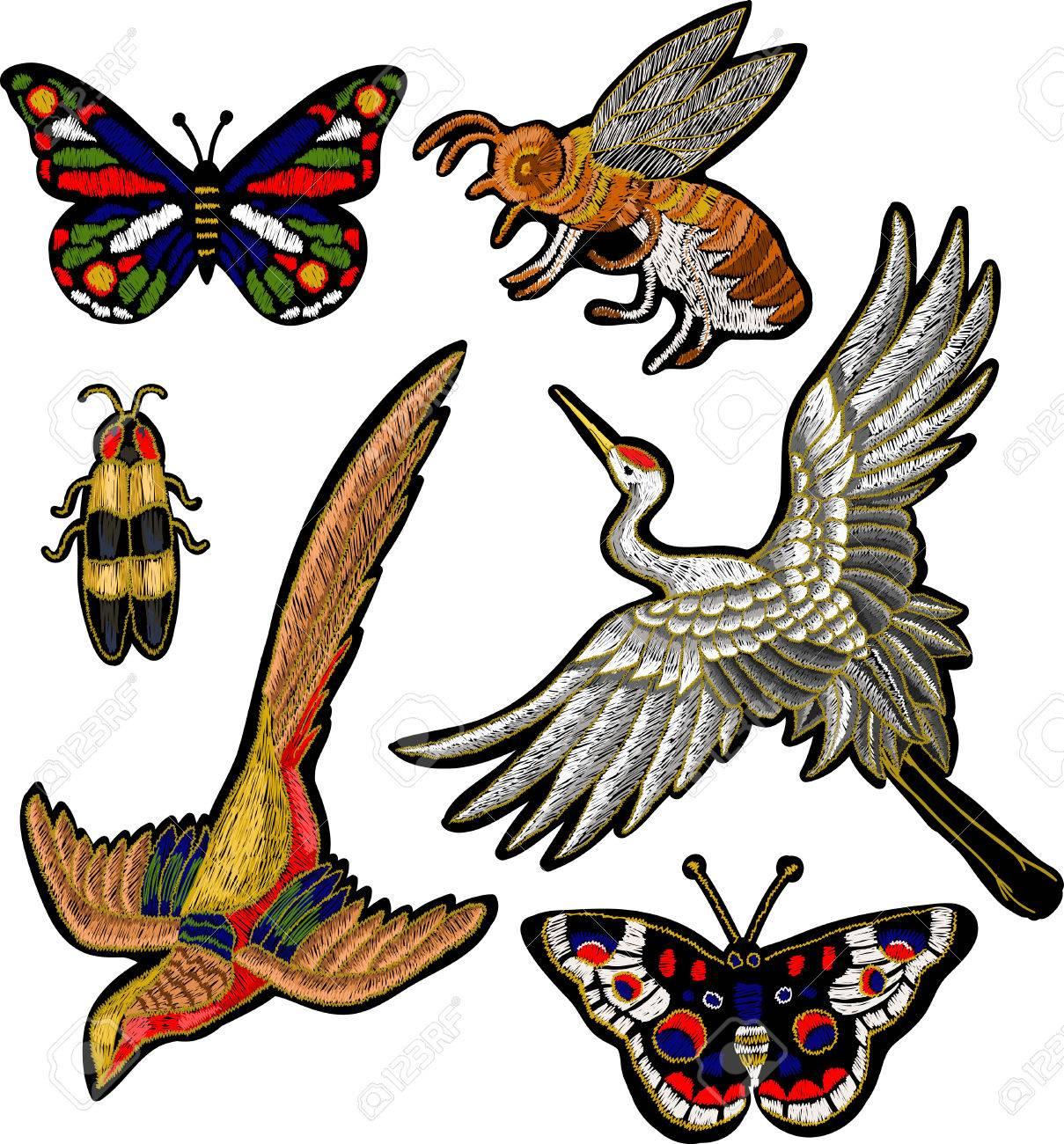 Abeja, Mariposa, Escarabajo, Grúa Pájaro Pegatinas Bordado ...