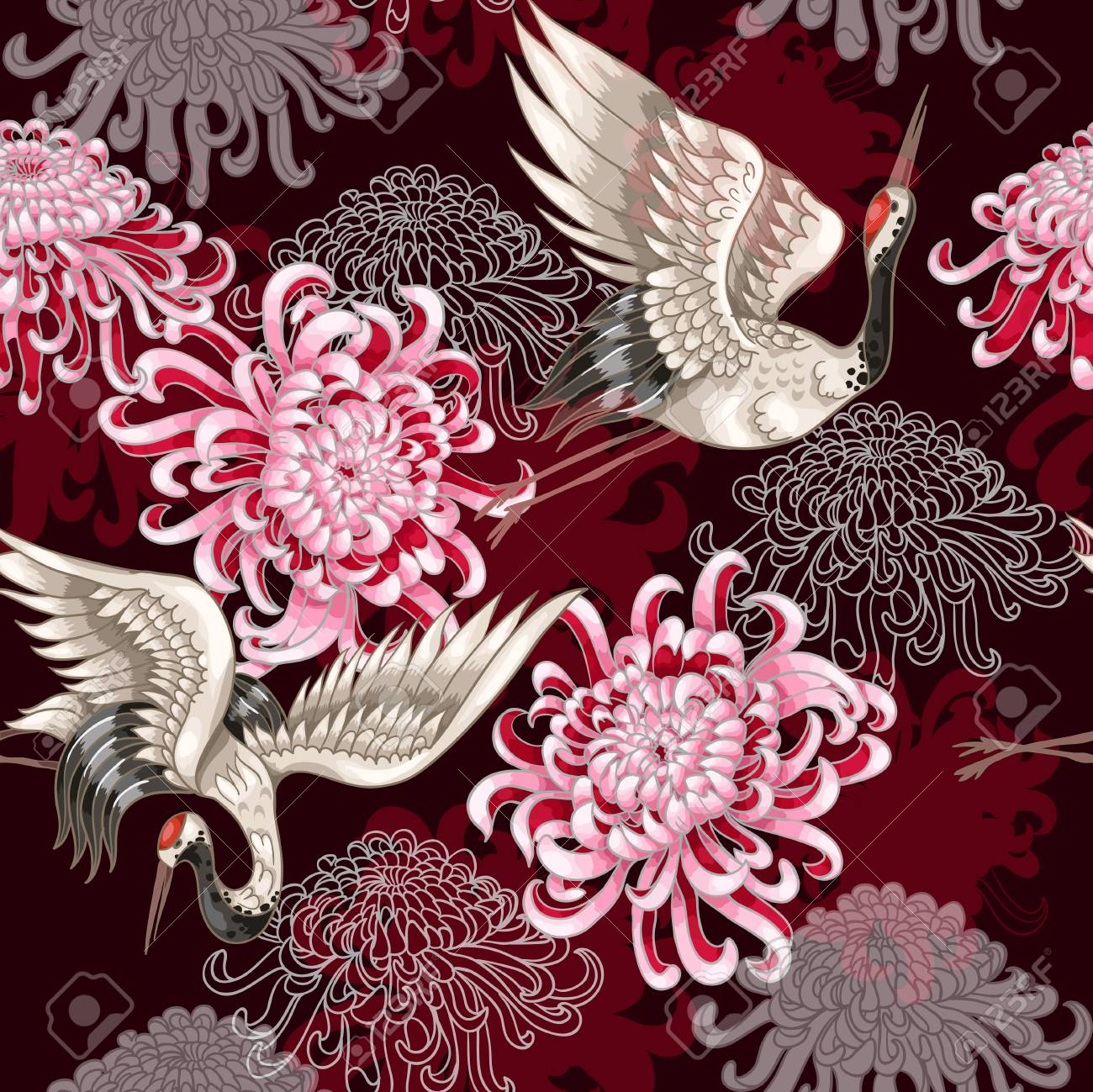 Seamless pattern with Japanese white cranes and chrysanthemums on a claret background - 90108823