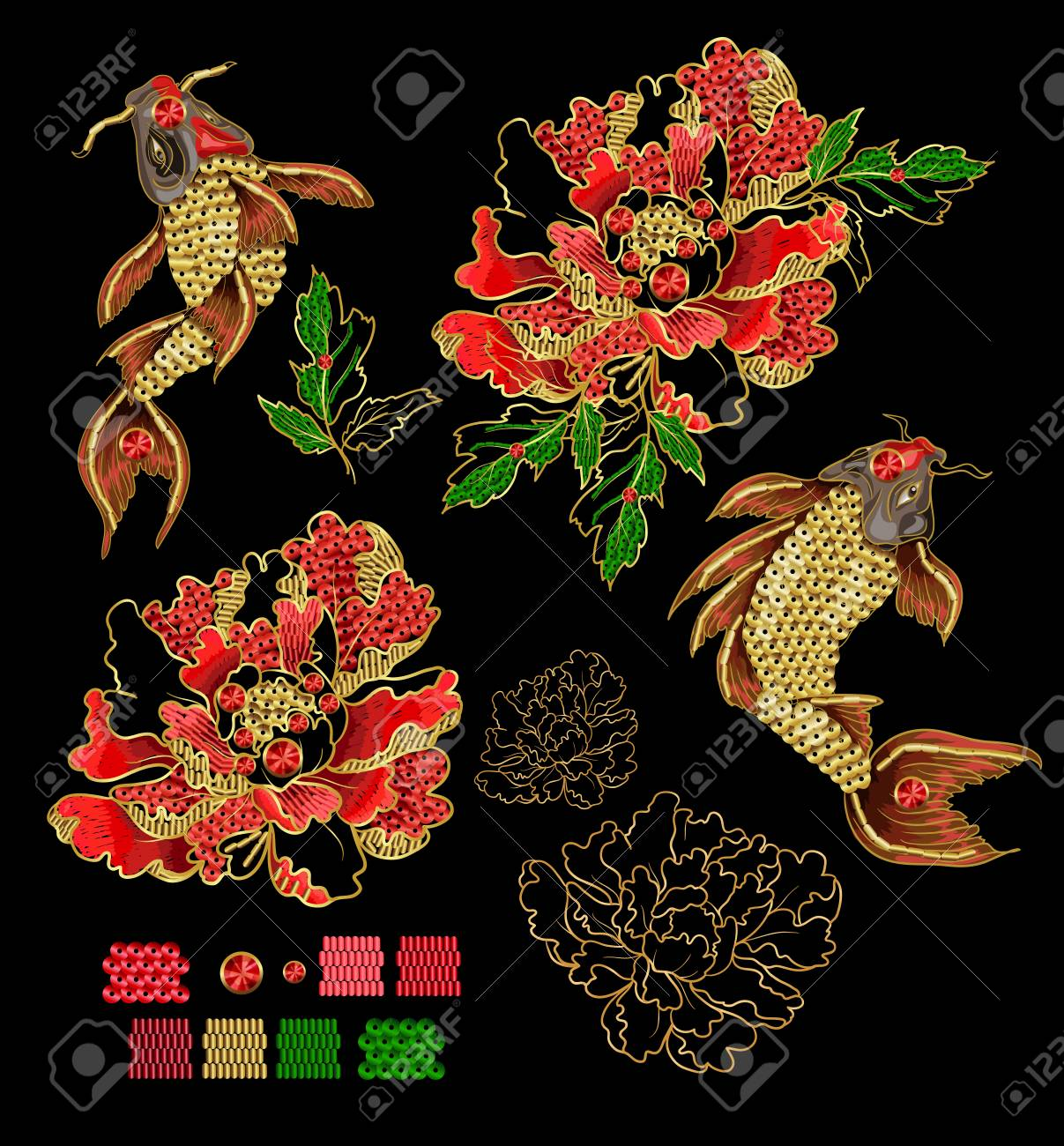 Set of patches with embroidery of japanese koi carp and peony patches are decorated with