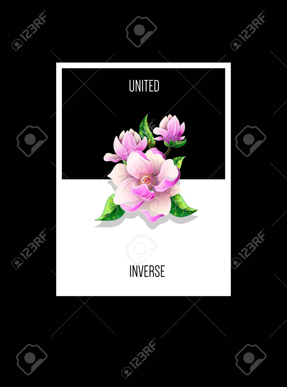 Design T Shirt With Magnolia Flowers And Slogan Royalty Free