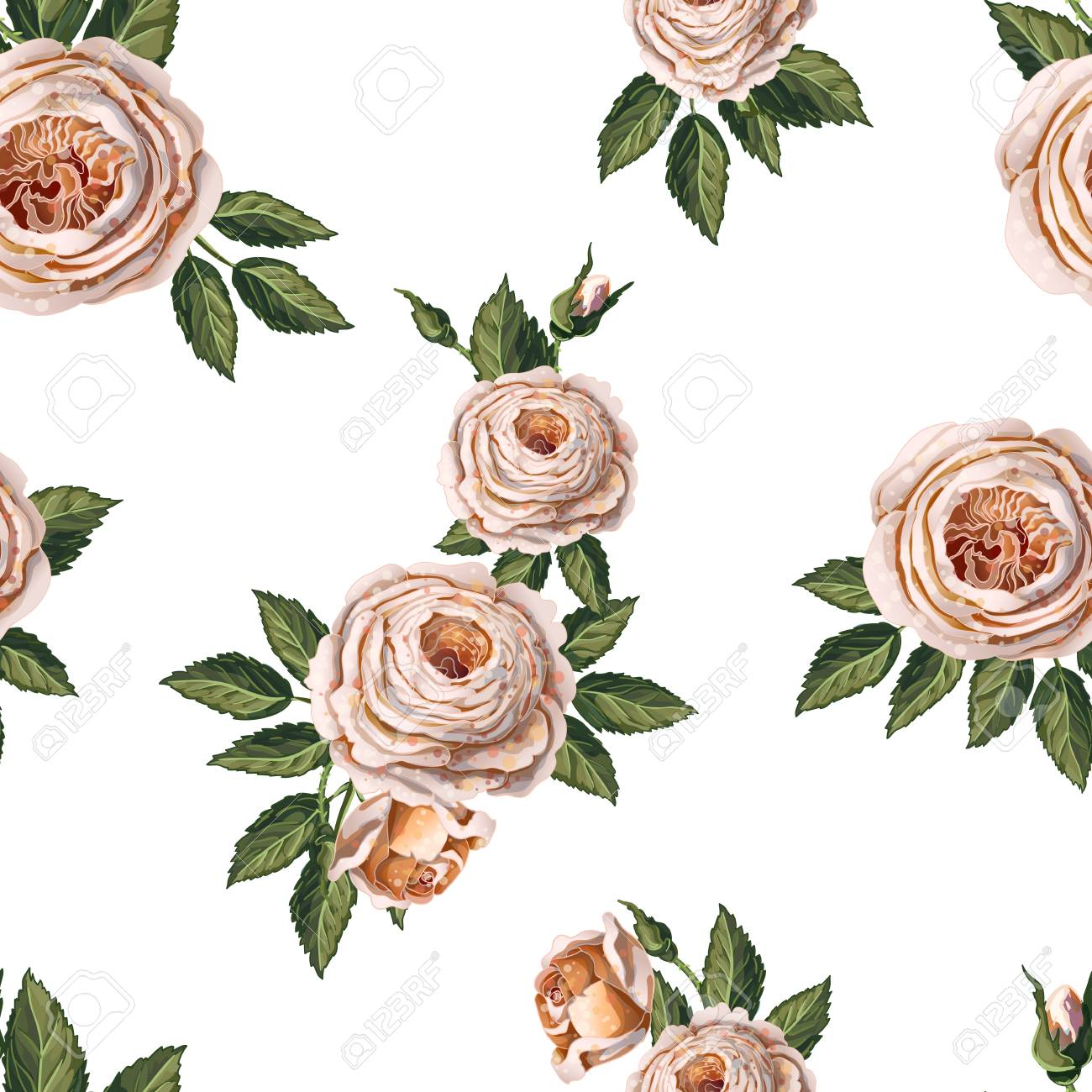 Seamless pattern with English roses on a blue background. - 110212960