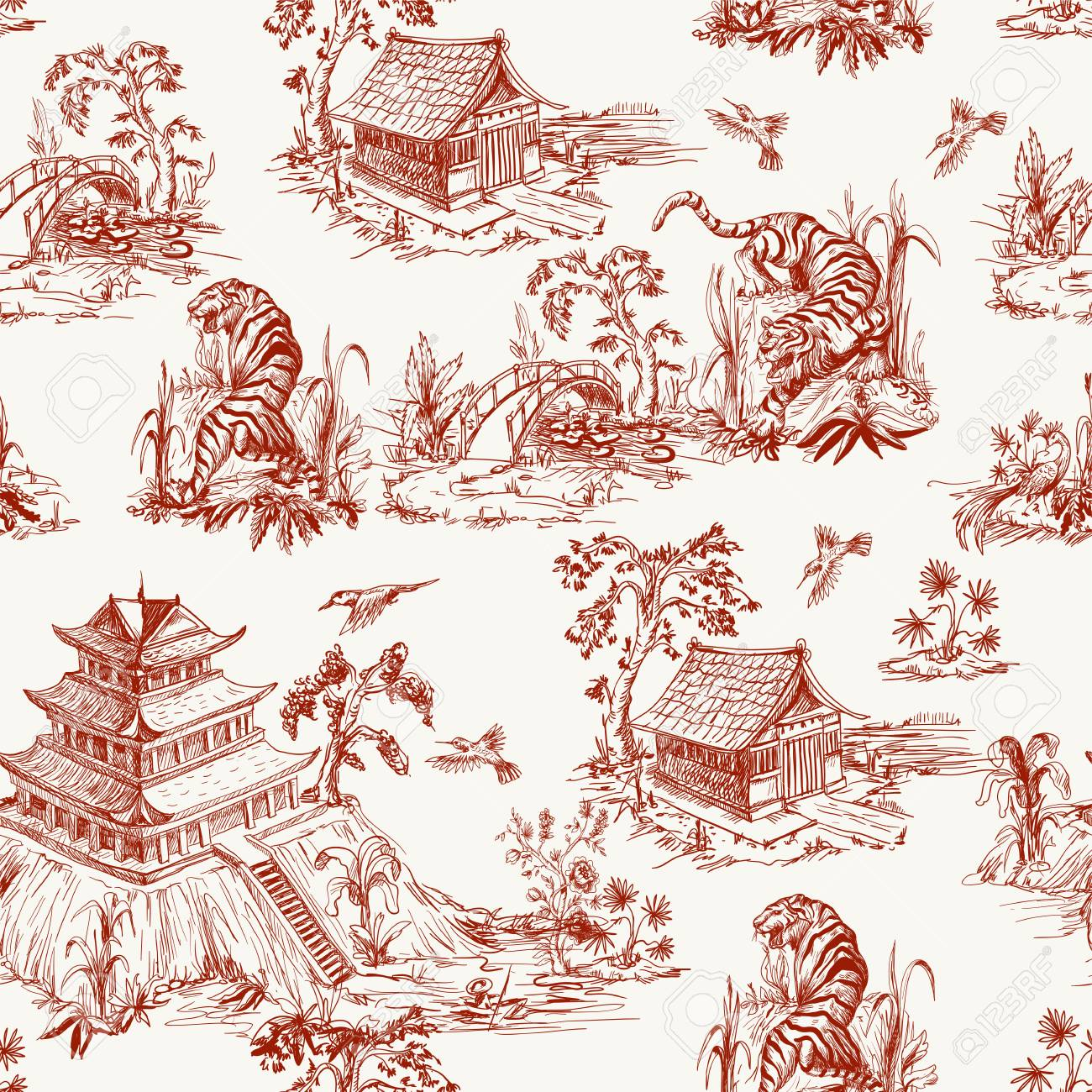 Seamless pattern in chinoiserie style for fabric or interior design - 123454321