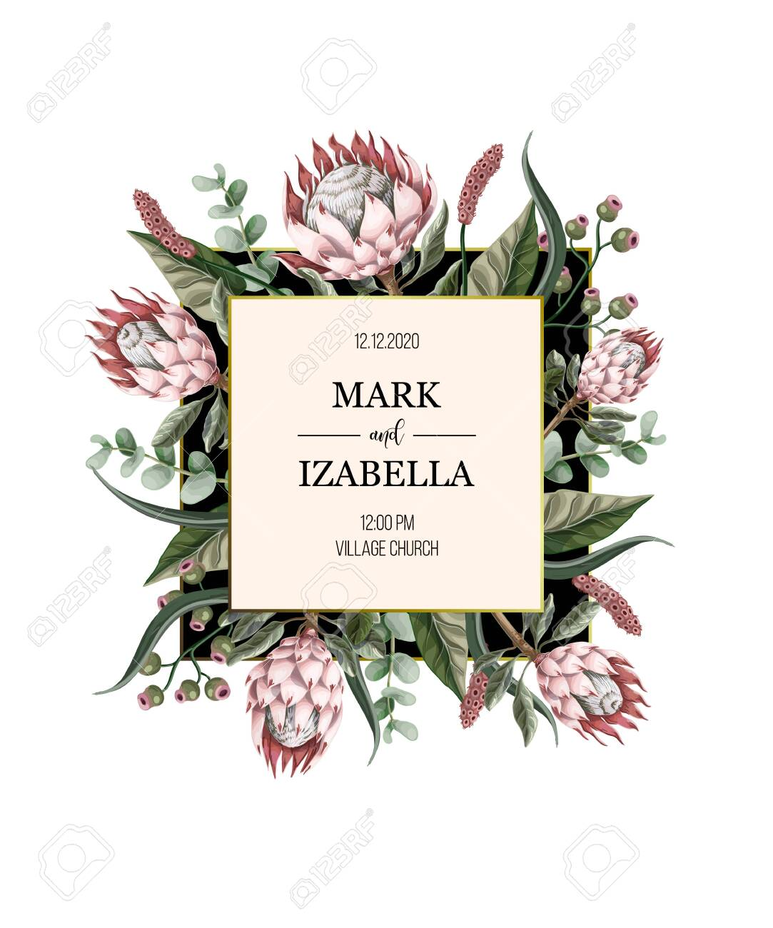Wedding invitation with leaves, protea flowers, succulent and golden elements in watercolor style. - 129392826