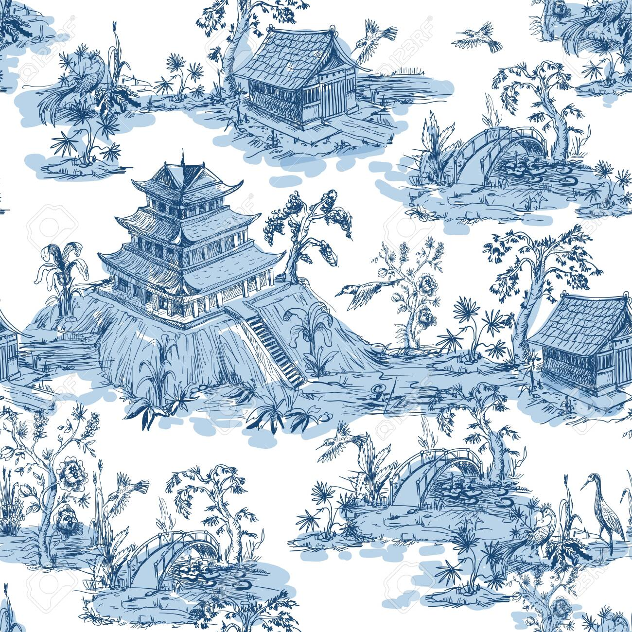Seamless pattern in chinoiserie style for fabric or interior design. - 129392975