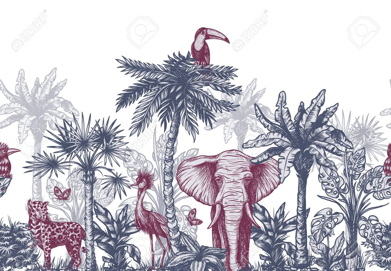 Seamless border with graphical tropical tree such as palm, banana and jungle animals. Vector. - 134345466