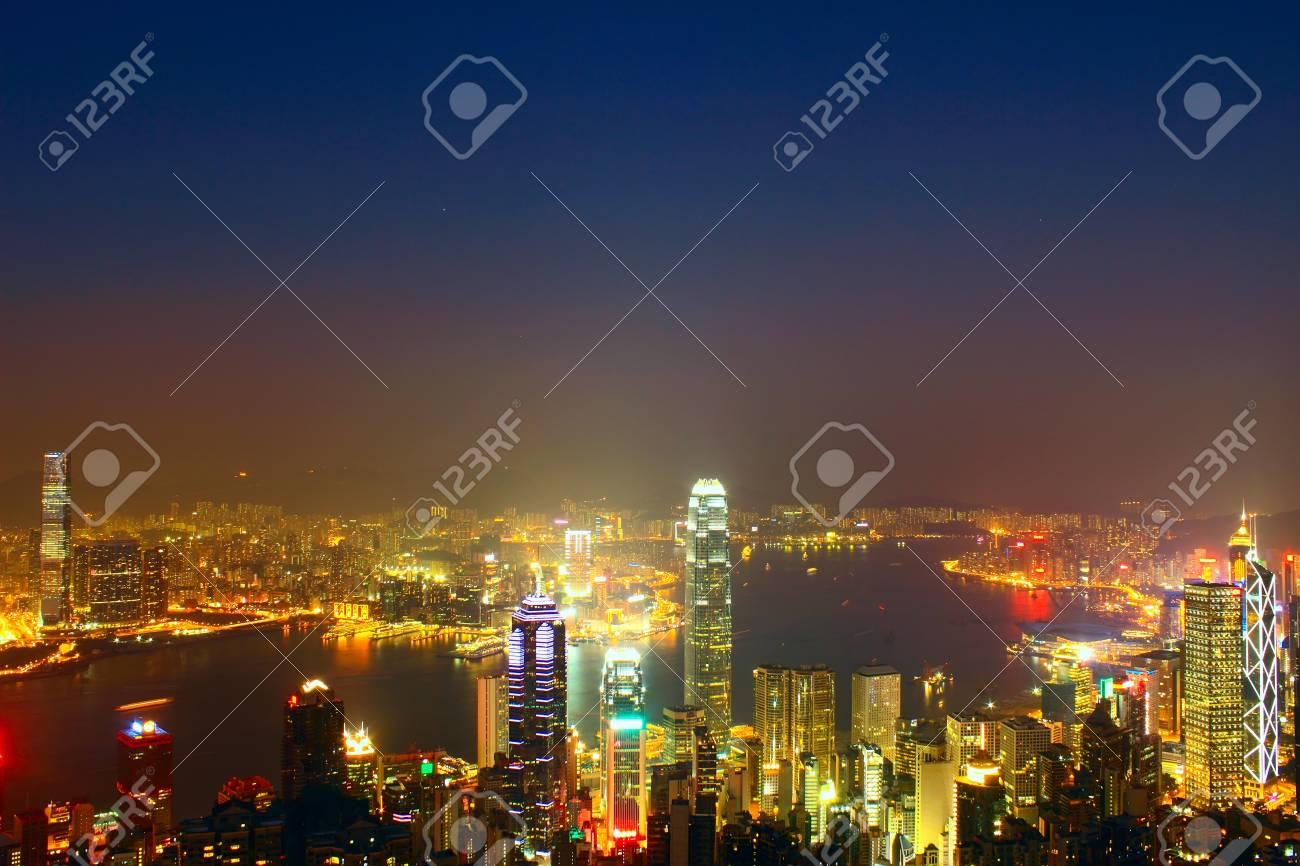 Hong Kong skyline at night Stock Photo - 12205568