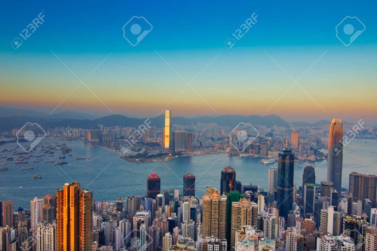 Hong Kong skyline at night - 13508745