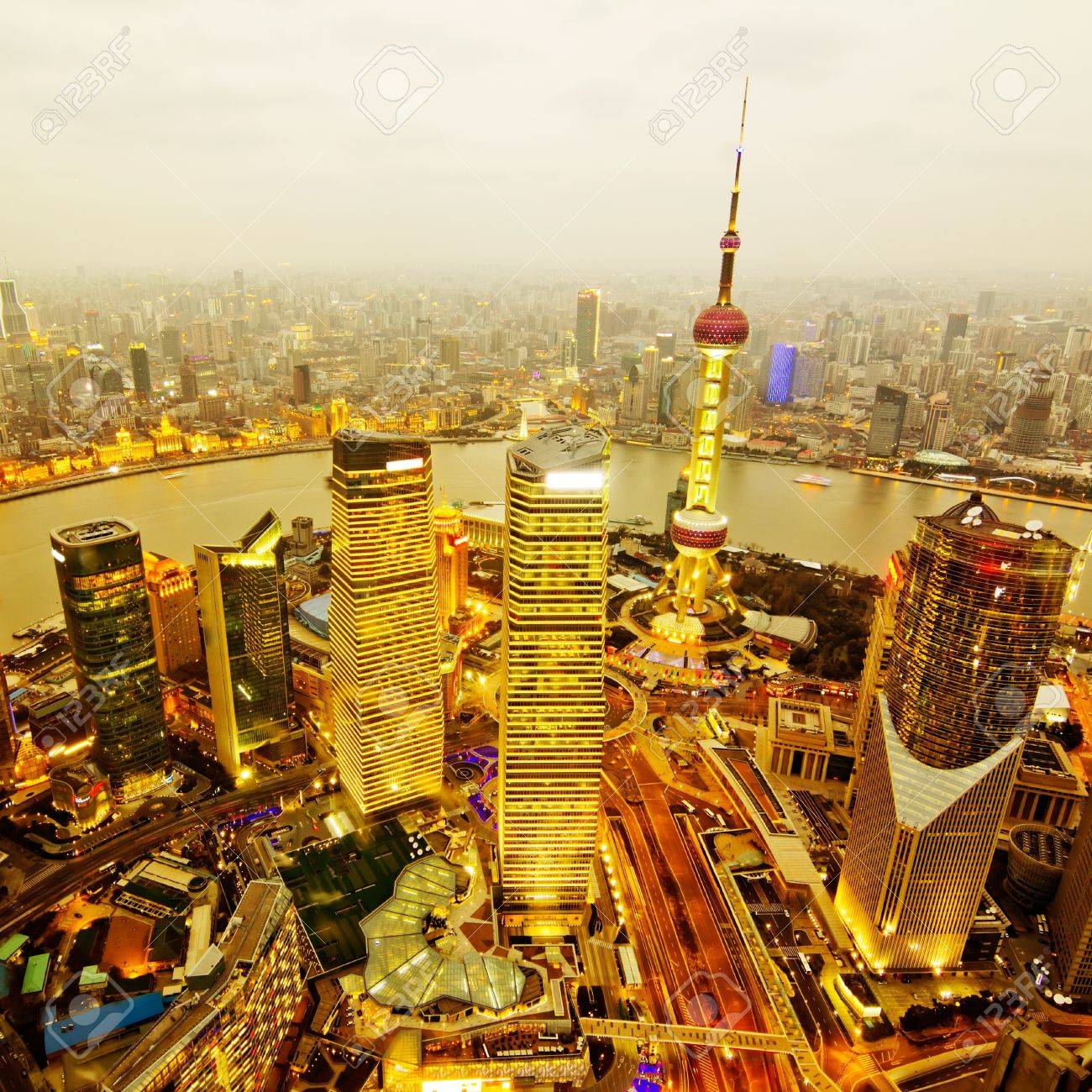 aerial view of shanghai at night from jinmao building Stock Photo - 13523993