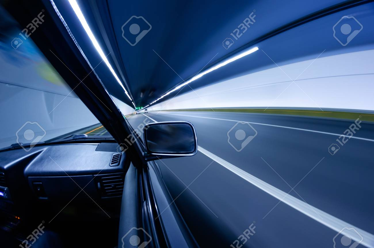 car on the tunnel wiht motion blur background Stock Photo - 14833068