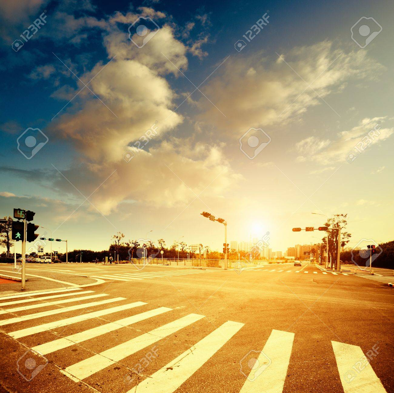 Urban road in the evening Stock Photo - 16737475