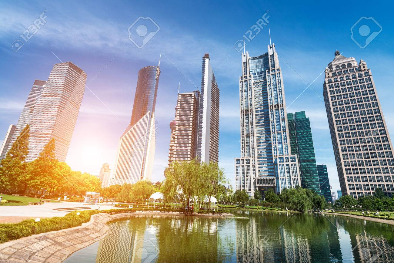 park and skyscrapers under the blue sky in shanghai Stock Photo - 25218366