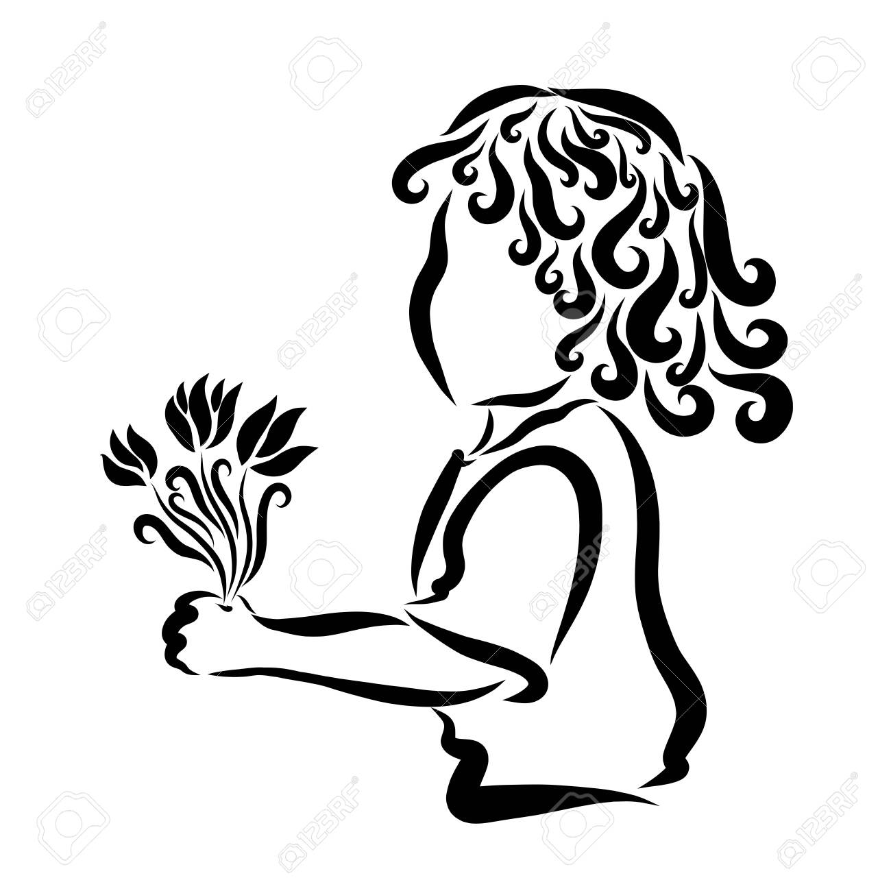 Beautiful curly child with a bouquet of flowers - 121112367