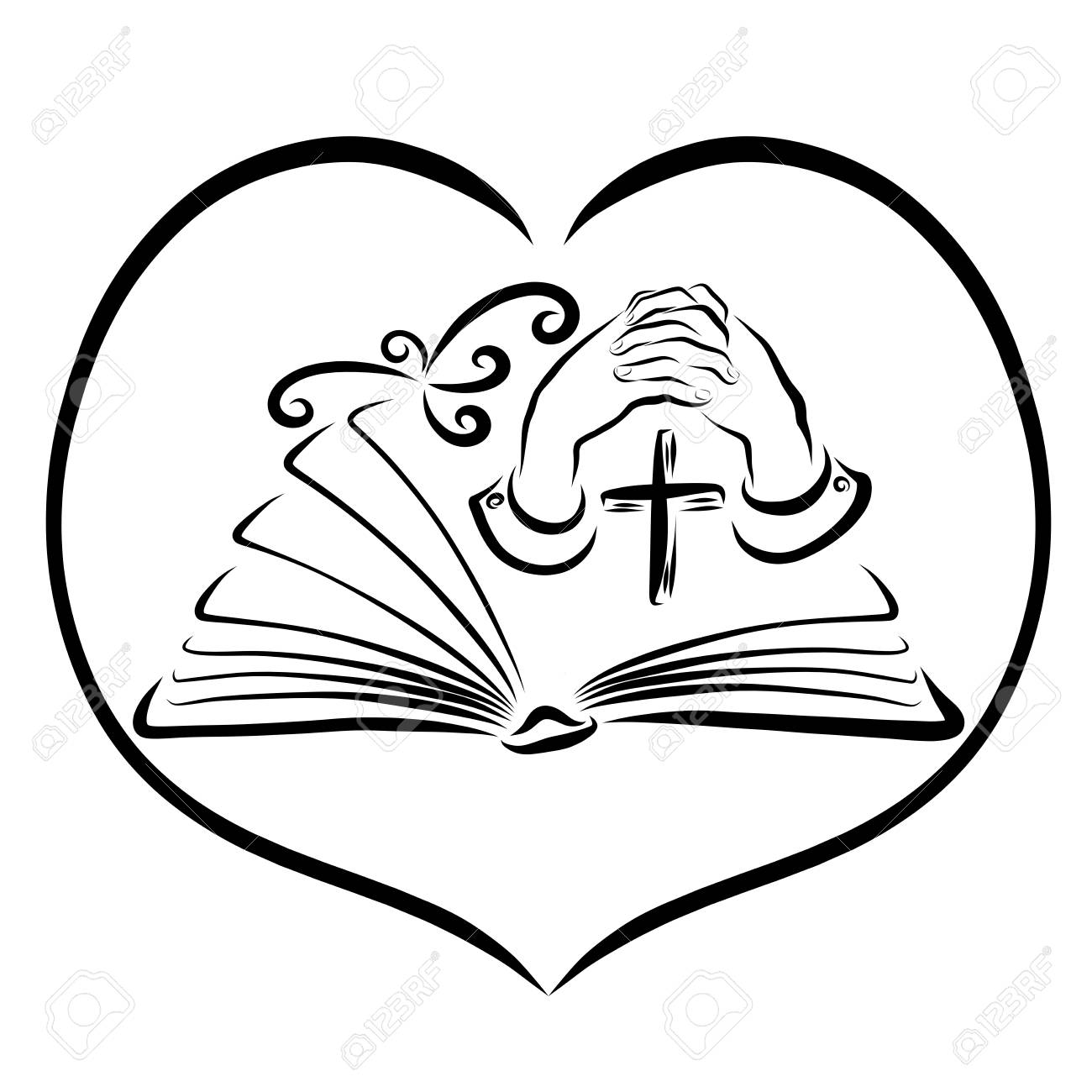 Prayer and Bible study, book, cross, hands and bird in heart