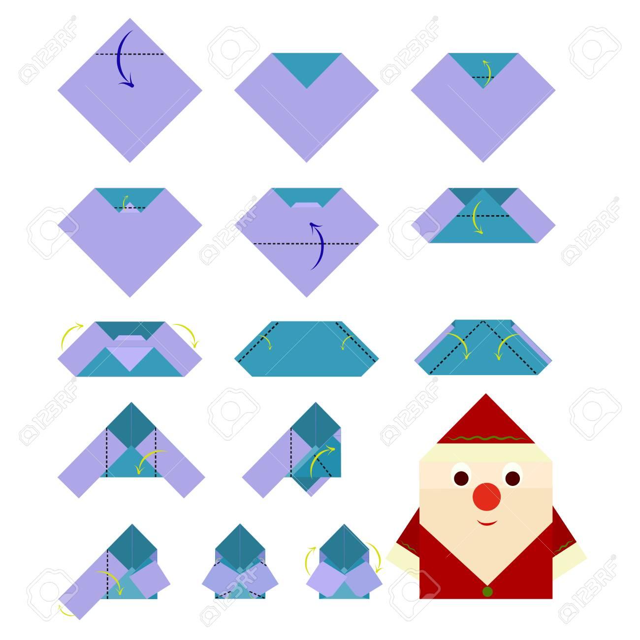 How to make Santa Claus, origami - 121858304