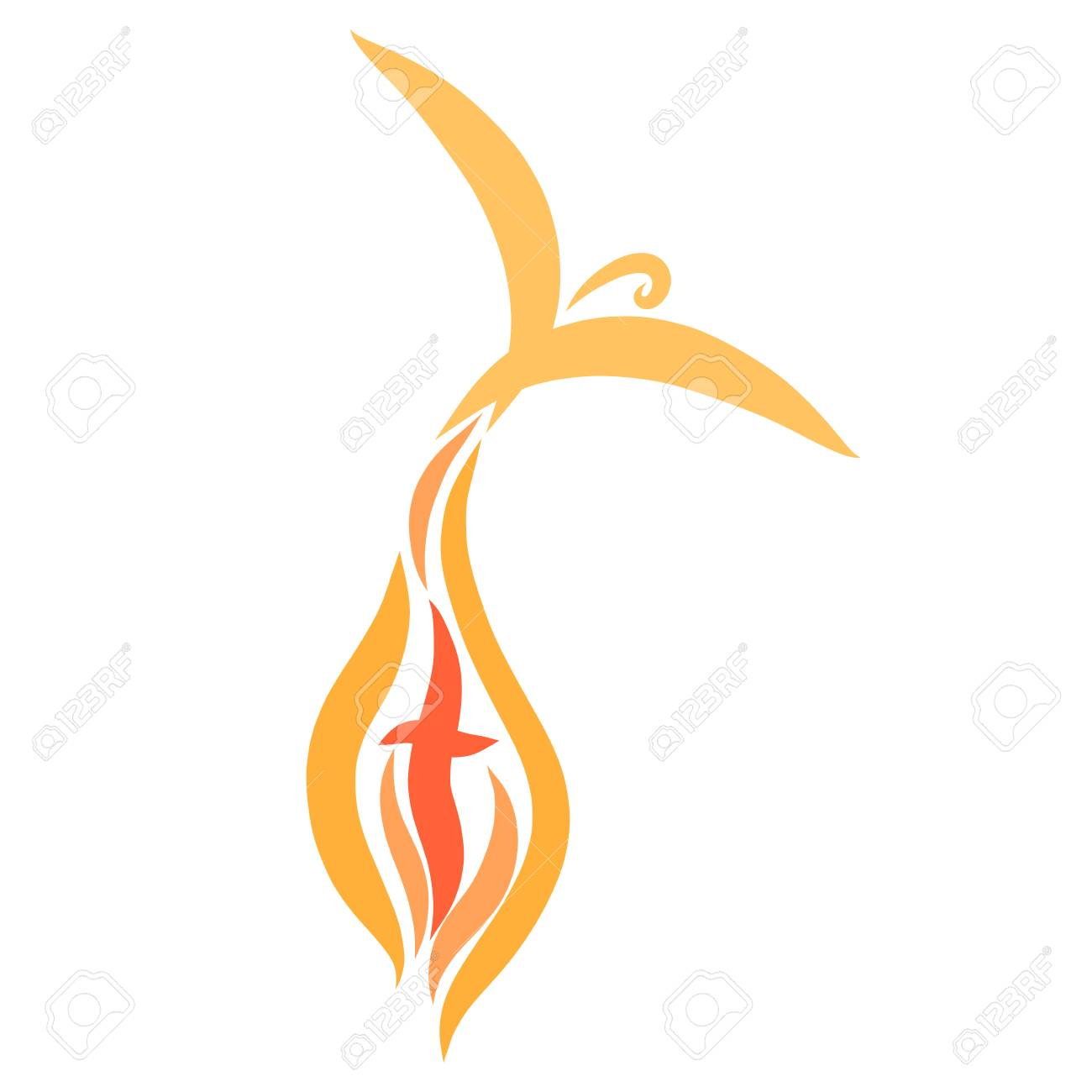 bird flying out of flame and cross - 121712465