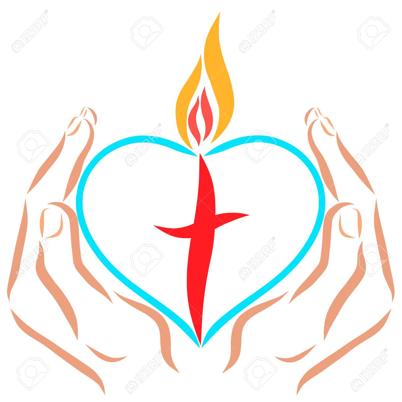 Hands holding a heart with a cross and flame - 121711224