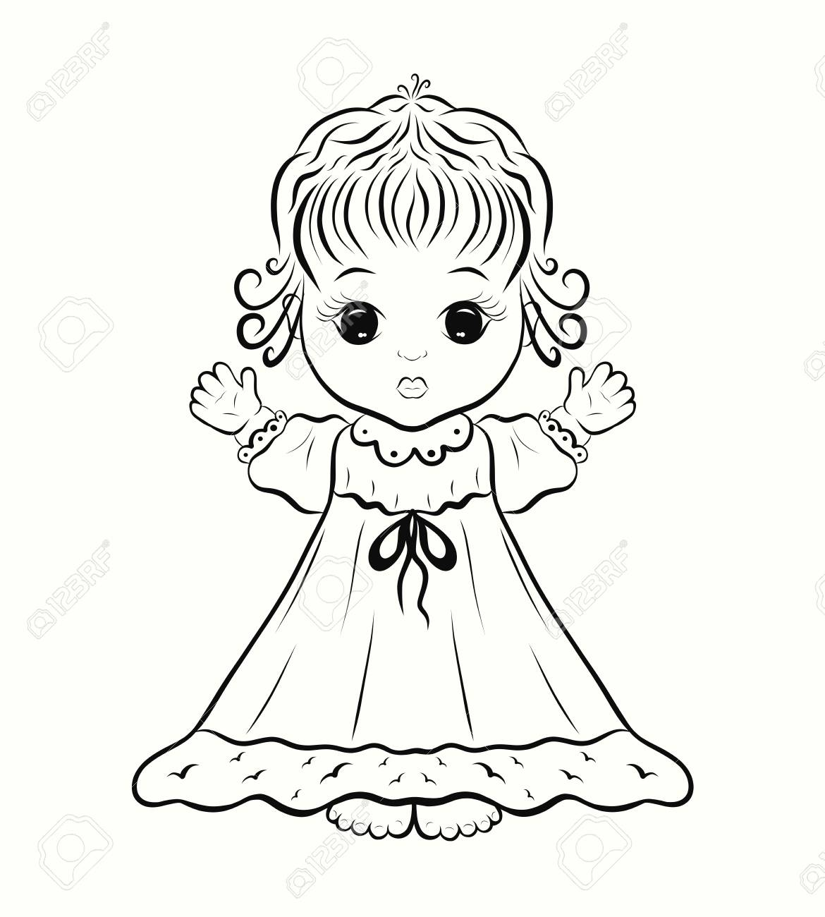 A Cute Little Girl In A Dress A Coloring Page