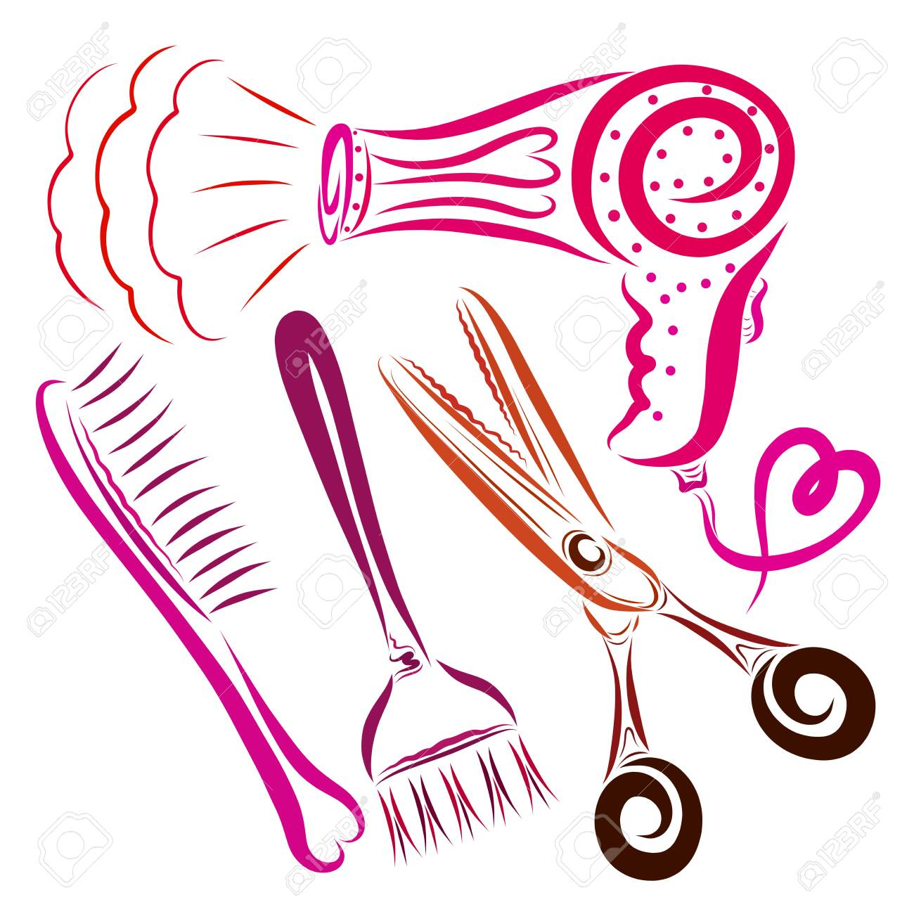 Hair dryer with a heart, a comb, a brush for coloring hair and scissors - 121173191