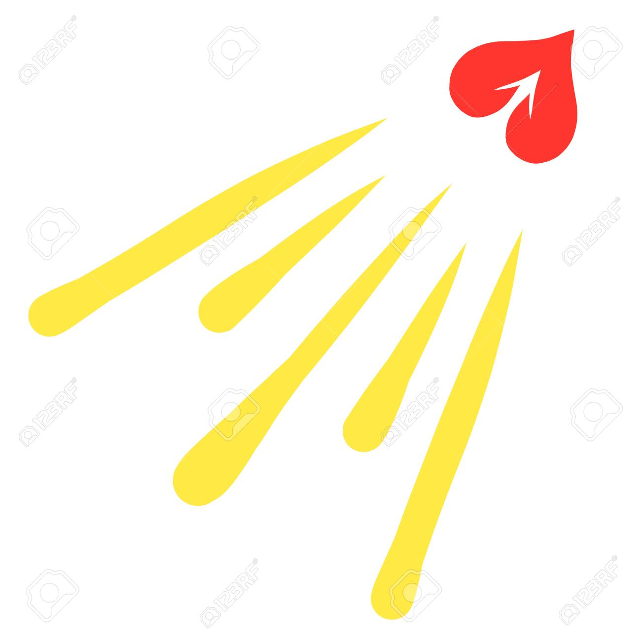 a soaring heart with an arrow, like a shining sun - 133305241