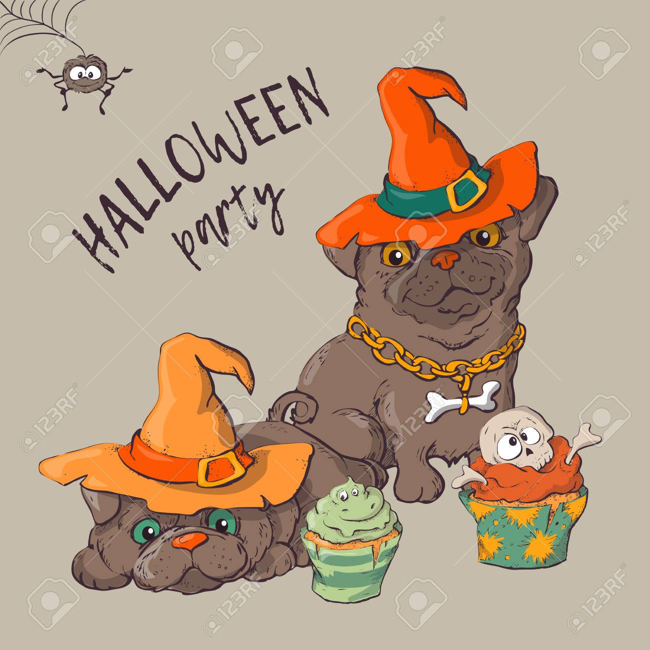 cute black kitten and dog wearing funny and fancy halloween hats laying with an illuminated jack