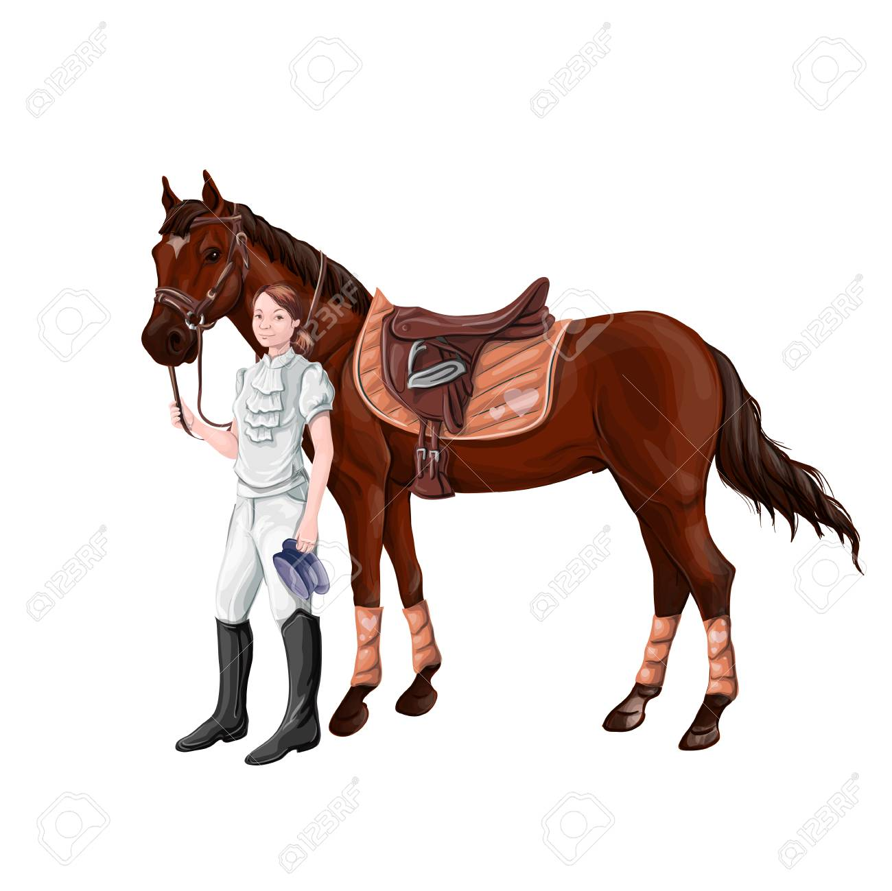Horse and rider girl woman in ammunition for jumping - saddle, cap, bridle, halter, wagtrap, stamping, boots, cylinder, helmet, jacket. - 97908612