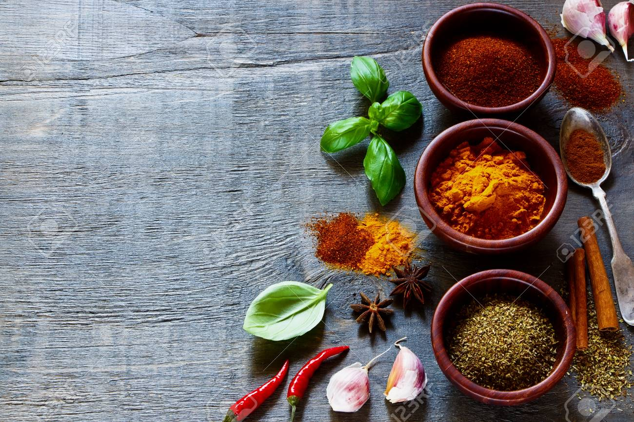 Cooking Ingredients. Spices And Herbs Over Dark Old Wood. Food ...