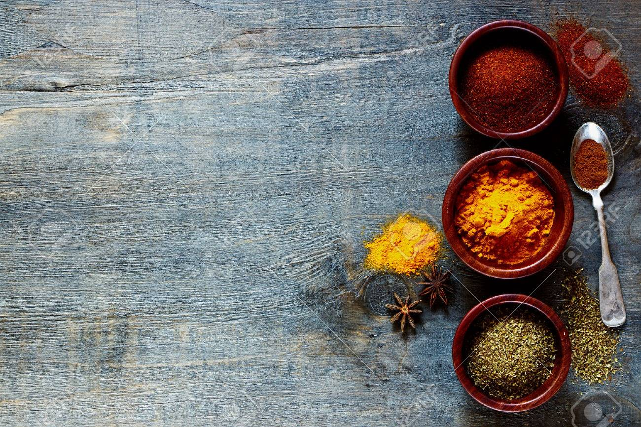 Various Spices And Herbs Over Dark Old Wood. Food And Cuisine ...