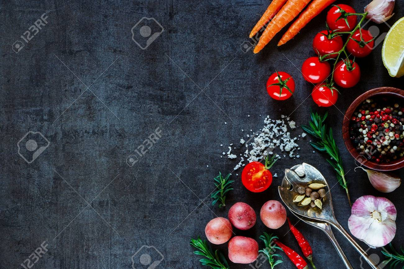Spices, herbs and fresh vegetables for cooking on dark metal background with space for text. Top view. Bio Healthy food ingredients. - 49744961