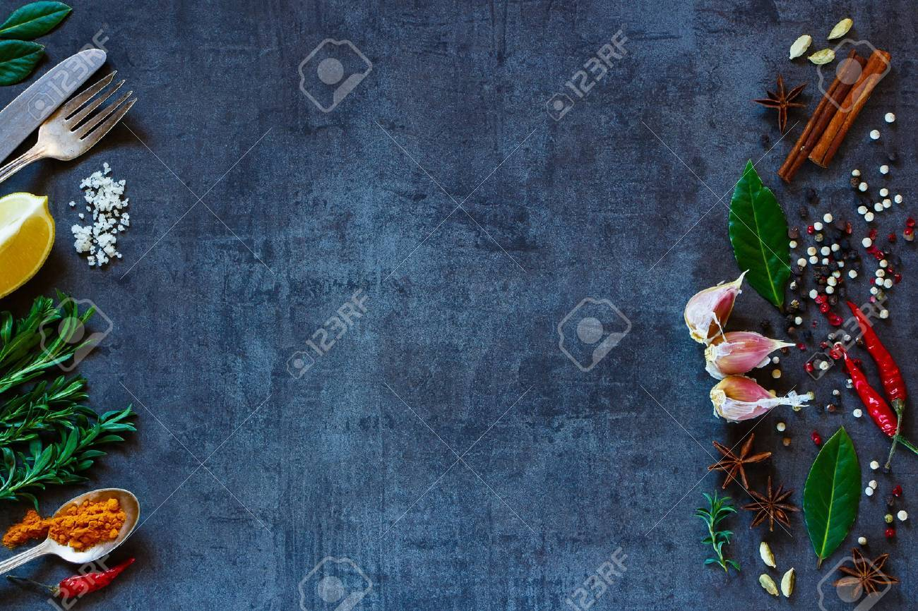 Vintage background with bright spices and space for text. Herbs and spices selection. Healthy eating and cooking concept. Top view. Dark rustic style. - 52913879