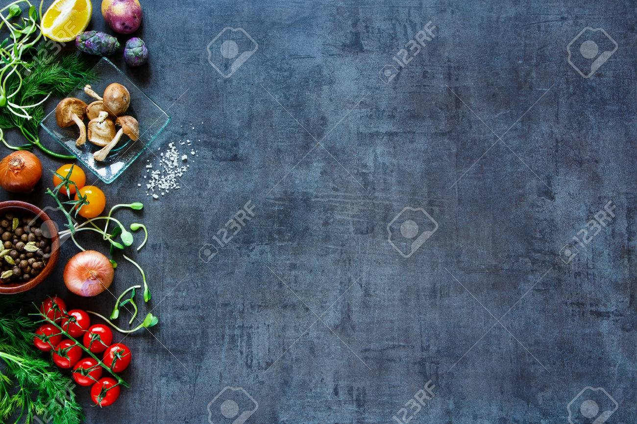 Raw organic vegetables with fresh ingredients for healthily cooking on vintage background, top view, banner. - 54733077