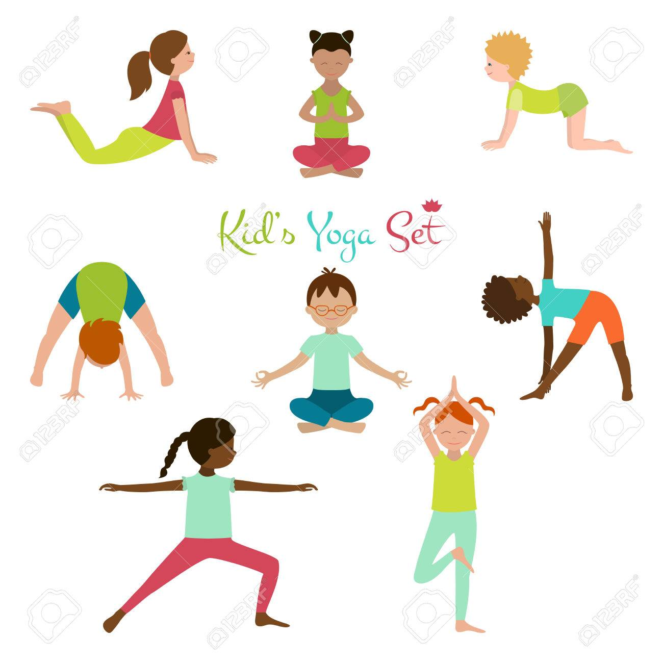 Illustration Of Kid Yoga Collection Poses Cute Poster