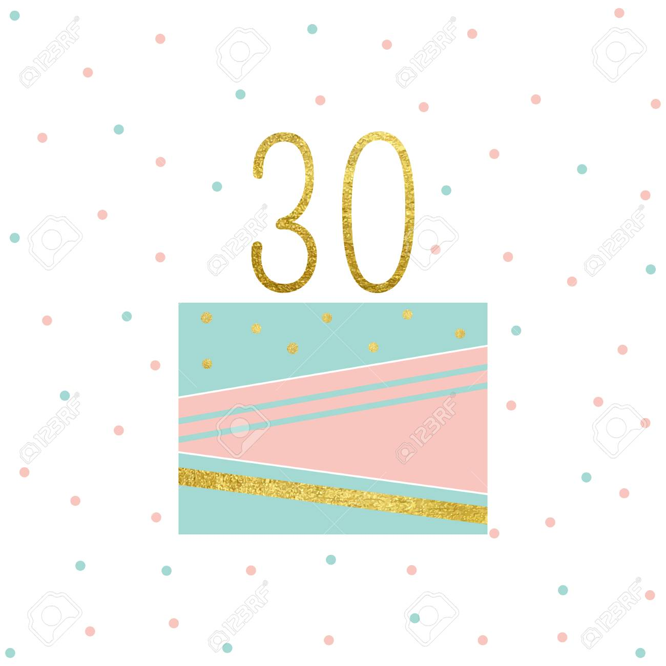 Ilustración Del Vector De La Tarjeta De La Torta De Cumpleaños 30 Aniversario De La Celebración Tarjetas De Invitación De Cumpleaños Aislado En El