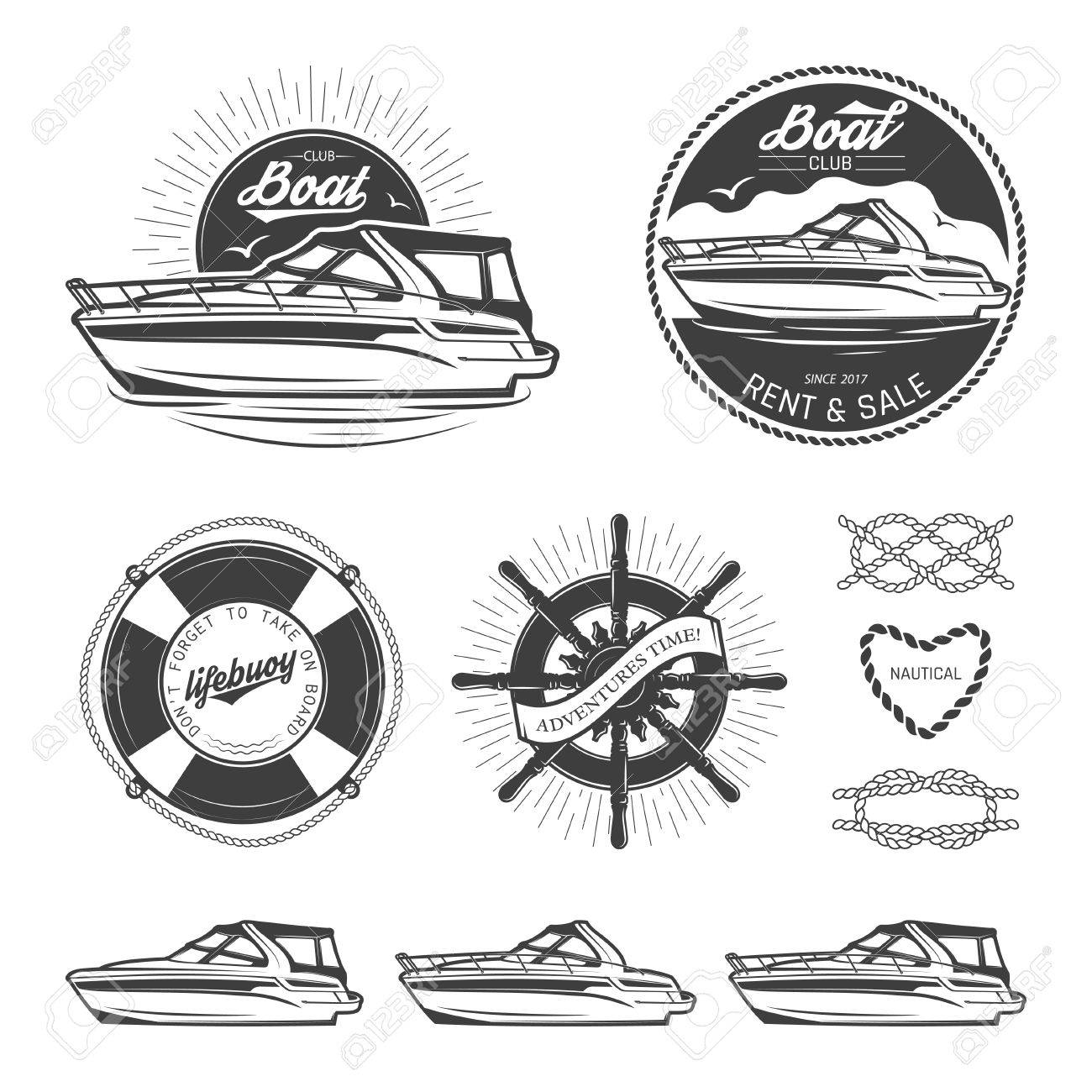 Set of vintage nautical logos, labels, emblems and design elements