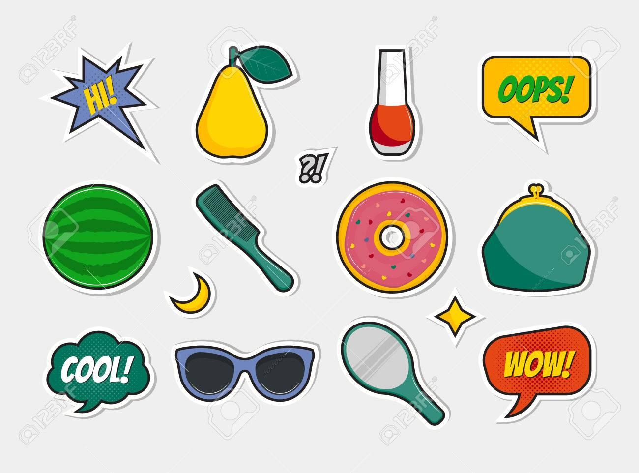 Vector Conjunto De Insignias Iconos Pegatinas Parches Pins Con Pera Barniz Sandía Peine Donut Monedero Gafas De Sol Espejo Burbujas