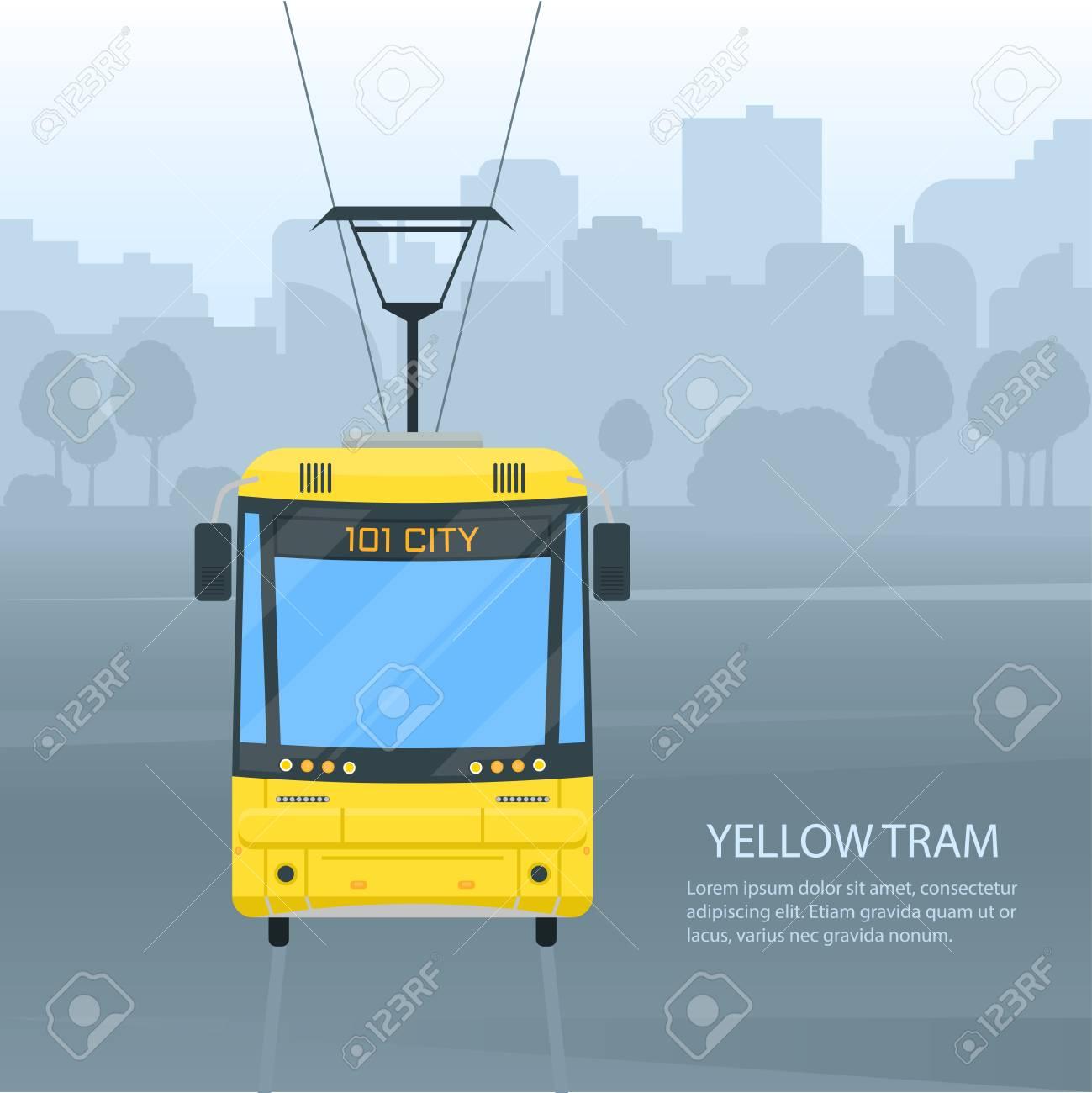 市内路面電車の公共交通機関ベクトル フラット スタイル イラスト都市