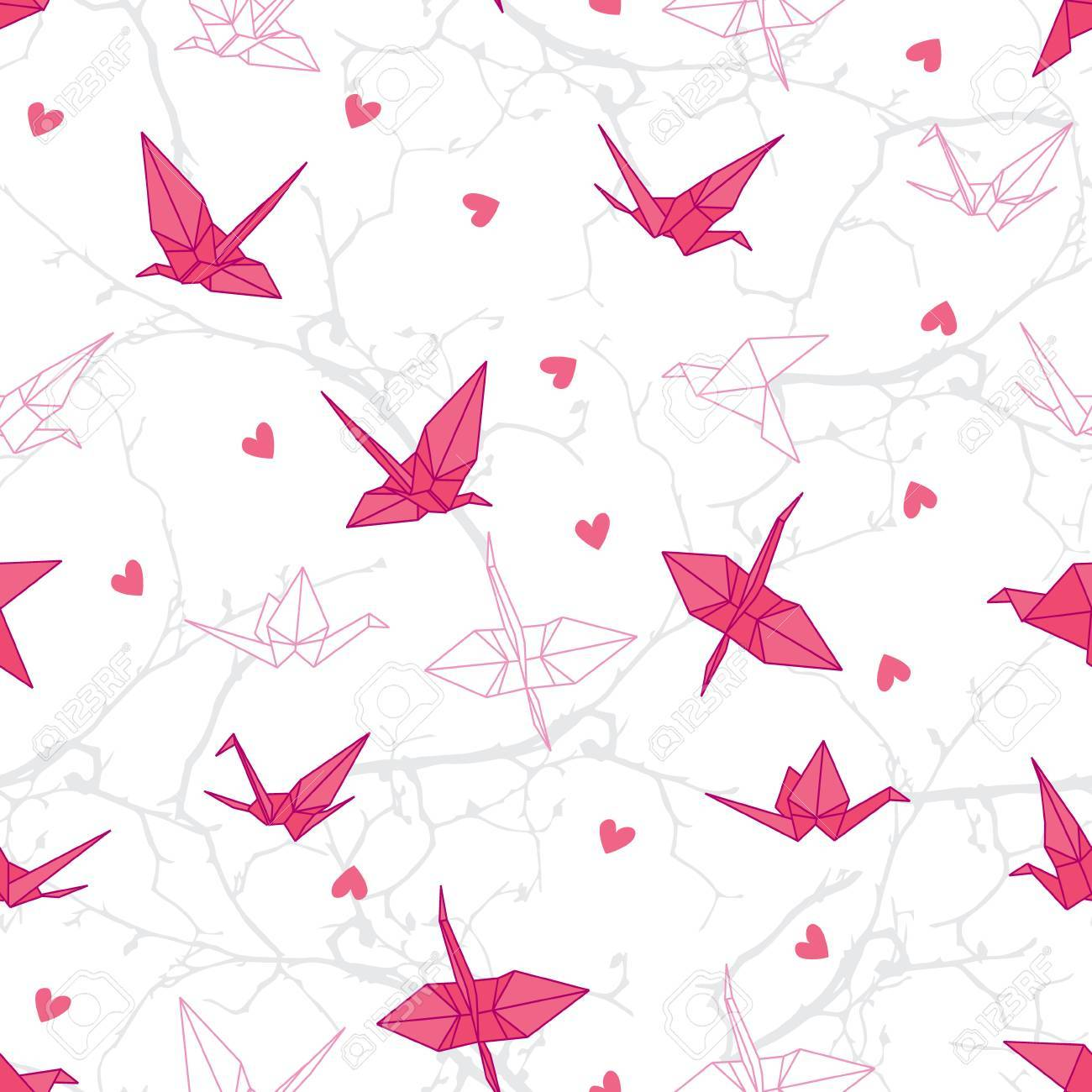 picture regarding Origami Crane Instructions Printable identified as Origami cranes within take pleasure in upon the branches seamless vector print