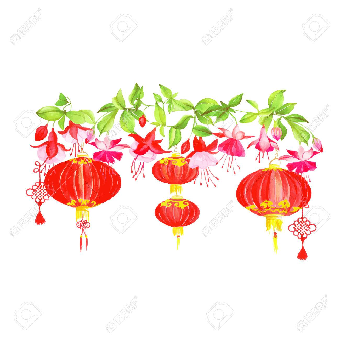 Asian Lanterns And Fuchsia Vector Design Banner. All Elements ...