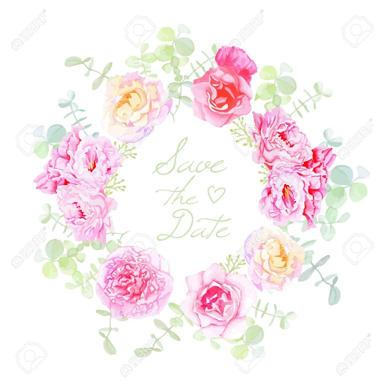Hochzeits-Rosen Und Pfingstrosen Kranz Vektor-Karte. Speichern Sie ...
