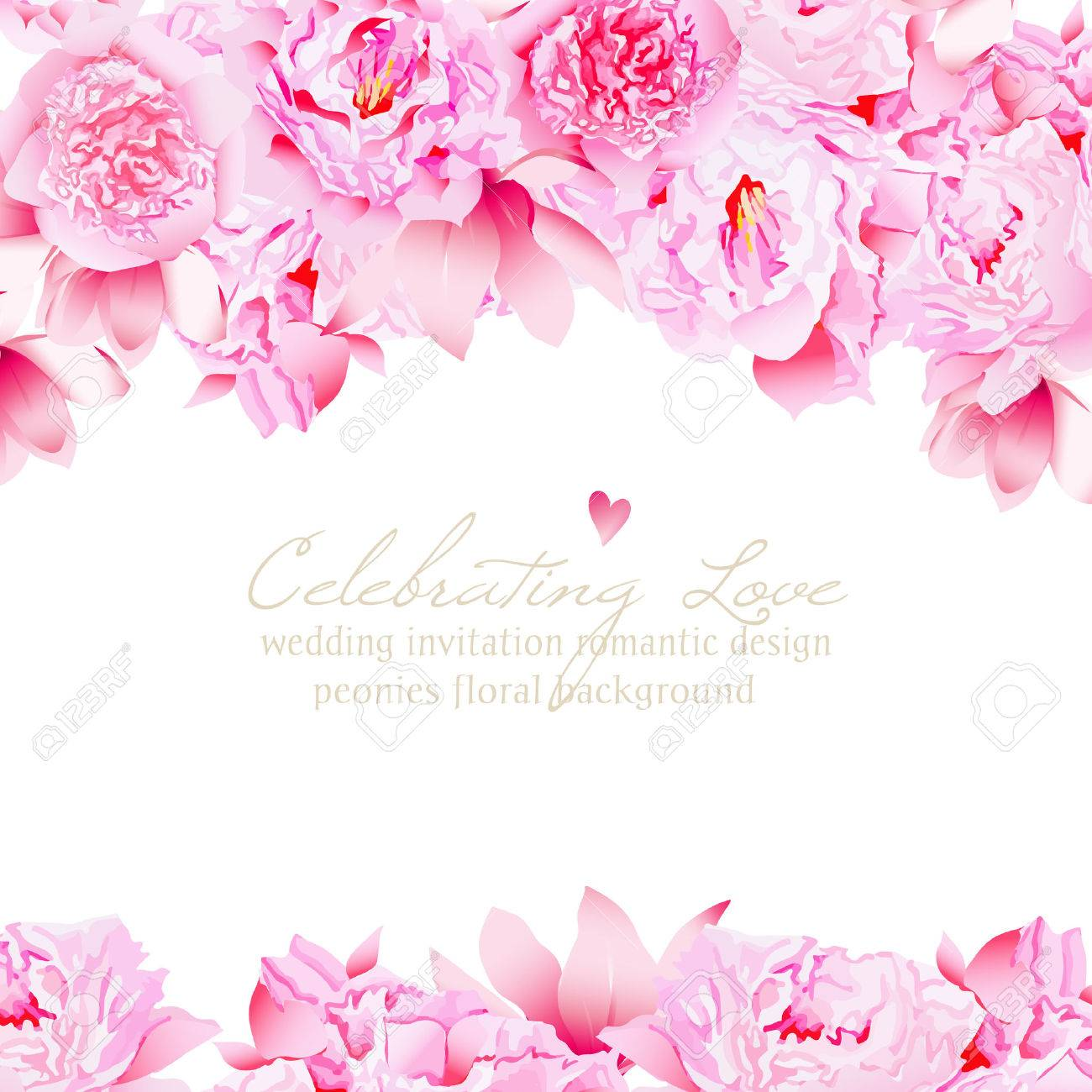 delicate peonies and camellia floral vector wedding design royalty