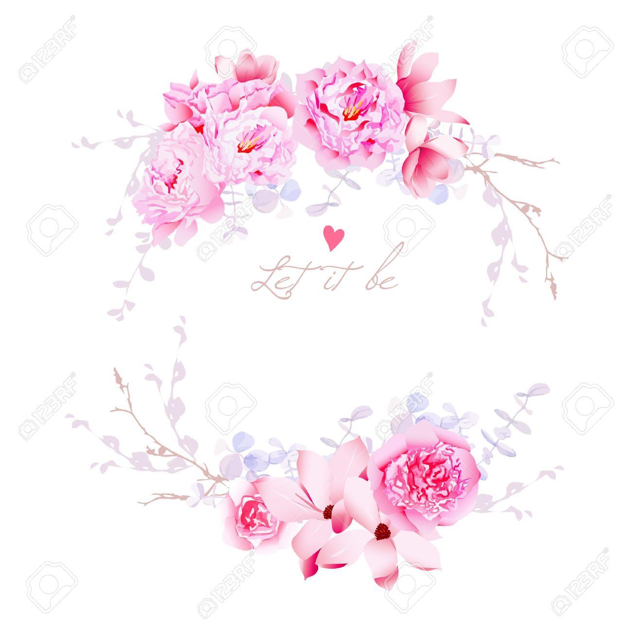 Fruhling Magnolie Und Pfingstrosen Vektor Rahmen Leicht Blumen